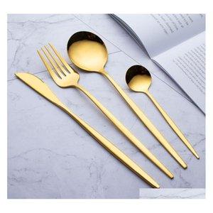 410 Paletterie in acciaio inox Dinnerware a buon mercato 4pcs Black Gold Set di posate in acciaio inox Set di posate in acciaio inox Coltello per JllppP Eautout