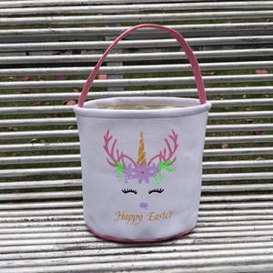 Ostern Glitter Unicorn Basket Kids Egg Bonbons Handtasche Barrel Eimer Bunny Taschen Plüsch Cartoon Leinwand Einkaufstasche Meer Versand LLA129