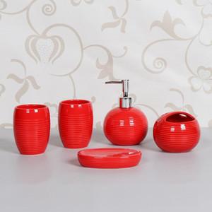 NEWYEARNEW 5Piece Set Ceramic European Bathroom Accessories Set Brief Golf Ball Home Decoration Wedding Gift Love Valentine Gift