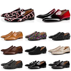 Nuovi mocassini uomini di lusso di marca scarpe da sera triple nero rosso di brevetto opaco sneakers in pelle picco per fondi piatti matrimoni Business