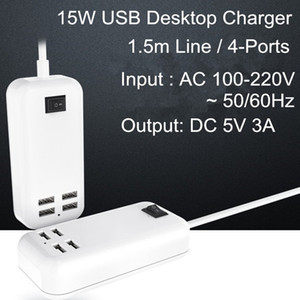 Desktop 4-Ports USB Charger 5V 3A 15W USB Desktop Adapter US EU Plug with 1.5m Cable Line free shipping