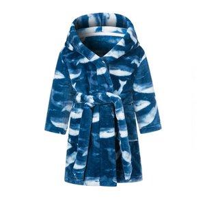 Enfants Pajamas Peignoir Dessin animé Polaire Nuit Robe Flanelle Plaid imprimé Nuit Robe Girls Garçons Soux Soft Warm Night-Robe fournitures Design Sea DDC5182