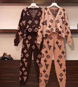 Europa 2020 neue asiatische Größe alphabetische lose Knithemd + kleine Beinhosen zweiteiliger Anzug Pullover für Frauen