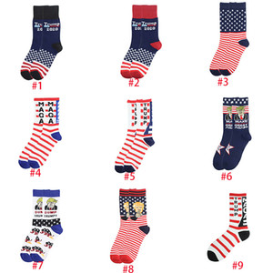 Women Men's Unisex High-Heeled Cotton Trump Personalized Letters Casual Sports American Flag Striped Socks boom DHB1504