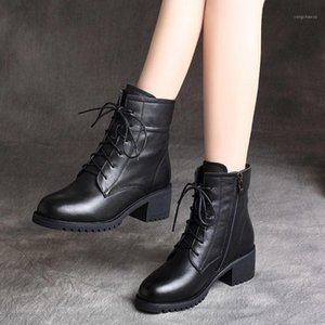 Women bare boots new genuine leather women shoes Winter keep Warm Fur Boots Waterproof Snow Thick round head short boot1