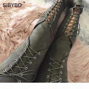 Sibybo Lace Up Suede Leather Pants Women Autumn New Hollow Out Skinny Sexy Trousers Women Bandage Long Casual Pants