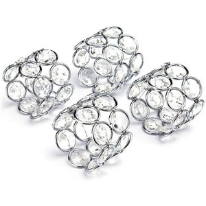 4Pcs Silver Crystal Napkin Rings Handcraft Sparkly Napkin Rings Holders for Wedding Centerpieces Special Occasion