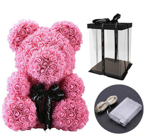 40cm Lovely Bear Of Roses With Led Gift Box Teddy Bear Rose Soap Foam Flower Artificial New Year Gifts For Va wmtEdS dh_garden