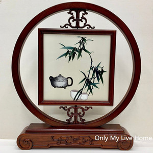 Free DHL Office Home Decoration Chinese style Table Decor Ornaments Hand Silk Embroidery Patterns with Bubinga Frame Christmas Business Gift