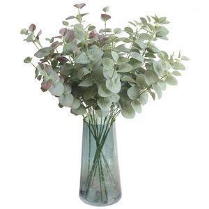 4pc Green Artificial Eucalyptus Leaf Leaves Plants Money Leaf Fake Plants Wall Decorative Wedding Shooting Prop Home Decor1
