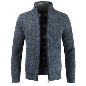 Fashion Cardigan Coats Autumn Winter Men Knitted Sweater Pockets Plush Liner Warm Slim Cardigan Coat Full Zip Thick Sweaters