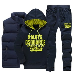 Men Warm Sport Track Suit 3 Pieces Sets Winter Sportsuit 2020 New Thermal Hoodies Sets Male Fleece Windproof Gym Run Sportswear