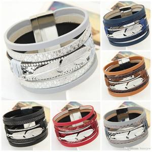 Hübsche Armbänder für Frauen Männer Mode Wide Magnetic Multilayer Wrap Armbänder Schmuck Geschenk Leder Armbänder Armreifen
