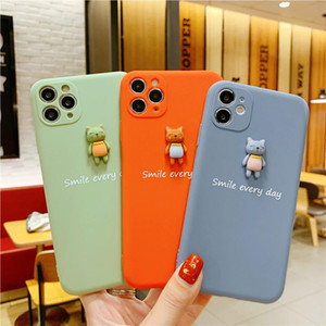 New cartoon cat 3D patch phone case for iPhone 11 Pro Max X XR XS Max 7 2020 soft TPU transparent back