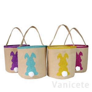Easter Rabbit Basket Easter Bunny Gift Bags Rabbit Handbag Printed Canvas Tote Bag Bowknot Candies Baskets 50pcs T1I3414