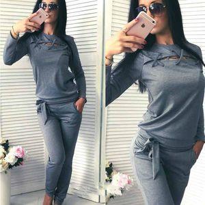 Chándal de mujer Casual Mujeres Tops Tops Pantalones de bolsillo 2 piezas Conjunto femenino Sudaderas Sweatsuit Sportswear Spring Otoño PCS Traje Lady 2021