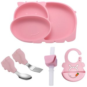 Baby Suction Silicone Plate Set Sucker Plate Set Children Grid Plates Baby Eating Training Fork Spoon Suction Plates for Babies LJ201221