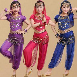 Children Girls Belly Dancing Costume Set Kids Performance Dance Bellydance Sexy Egypt Dance Suit Wear 6 Color