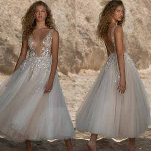 Berta 2021 Short Prom Dresses Backless Lace Appliqued Tulle Evening Gowns Dee V Neck Sexy Special Occasion Dress