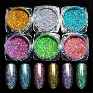 Paillettes holographiques paillettes brillant chrome pigment poudre d'art décorations de décorations manucure laser argent paillettes de paillettes