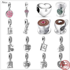 partido New Original Feliz aniversário café Pav Ice Familiar Reserve Beads caber Pandora Encantos Prata 925 Pulseira DIY jóias mulheres