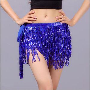 Women lady Belly Dance Costume Belt 4-layer sequins tassel hip scarf Triangle Latin Dance Wear bellydance waist chain