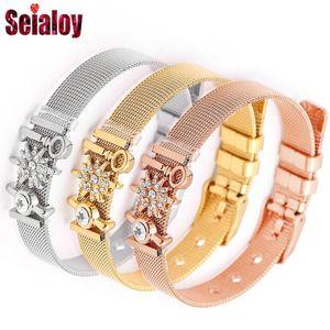 SEIALOY Мода из нержавеющей стали сетки часы цепи браслеты для женщин Мужчину розового золота Шарм Brands браслет Bangles ювелирных изделий