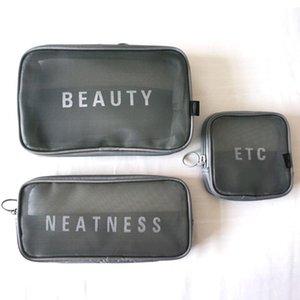 3 unids / set Mesh Bolsa de maquillaje transpirable Travel Transparente Almacenamiento Aseo Bolsa de inodoro Carta Estampado Cosmética Letras aleatorias