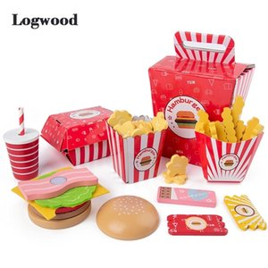 Baby toy Kitchen toys Burger Set Real life Cosplay Monterssori Educational Wooden toys for Children Party Game LJ201211