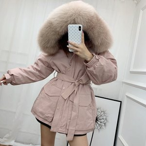 Korean Version of Super Large Fox Fur Collar Short Jacket for Women Loose and Thick Hooded Duck Down Windbreaker Coat Fall   Winter