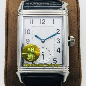 Top-version ANF Reverso Flip on both sides Dual time zone 3848420 White Dial Cal.854A 2 Mechanical Hand-winding Mens Watch Flip Watches 55