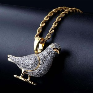 Hip Hop Jewelry Iced Out Pigeon Pendant Necklace With Gold Chain for Men Micro Pave Zircon Animal Necklace