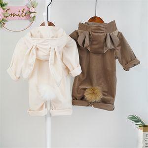 الخريف طفل رضيع الملابس فتاة مقنعين رومبير بذلة الوليد الربيع الشتاء الأرنب الدب الكرتون ازياء roupa vetement bebe garcon LJ201023