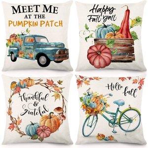 Fall Throw Pillow Covers 18x18 Inches Pumpkin Thanksgiving Farmhouse Decorative Autumn Pillowcase Cotton Linen Cushion Case for Home