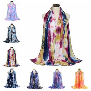 Écharpe teintée foulard Femmes Mode Coton Plain Côté Châle Châle Beach Head Campots Sole Bandana Headscarf 7 Couleurs OOC5898
