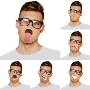 Reusable Facial Expression Print Face Mask Adjustable Breathable Adult Dust Proof Haze Face Masks with Filter Pocket