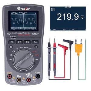 2 en 1 Osciloscopio de almacenamiento digital inteligente One Key Auto Auto Oscilloscop Tester Multímetro 40MHz 200 MSPS / S 6000 Cuentos VERDADEROS RMS1