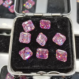 Pink Moissanite Asscher Cut Loose Bead Stone 4.5mm Clear Luxurious Diamond DIY Jewelry Material