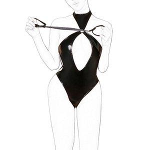 Séduisez para cuir une lingerie el sexe body high-forkd body morceau latex creuse ropa brillant sous-vêtements de luxe sexo costume qllno