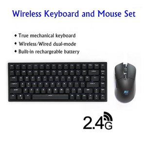 New RK526 Rechargeable 84 Key 2.4Ghz Wireless Wired Dual-mode Mechanical Keyboard and Mouse Set For Mac Windows White Backlight1