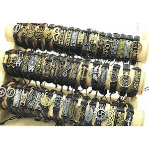 200pcs lot Mix Style Metal Leather Cuff Charm Bracelets For Men's Women's Jewelry Party Gifts Bangle D jlldfo bdecoat