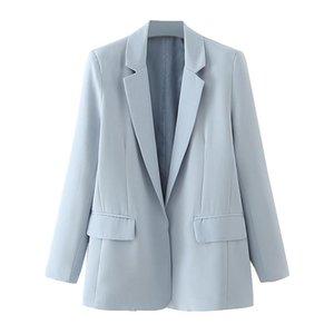 BLSQR 2021 Baby Blue Blazer Mulheres Autumn Blazer Botão Casacos Ladies Escritório Lady Terno Casacos