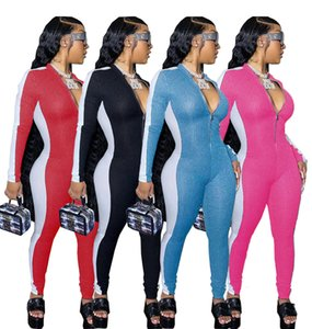 Femmes Sexy Tenues Contrast Mode Brochage pantalon à manches longues Bodysuit Slim Zipper Bodies Ladies Tight Solid Color Barboteuses