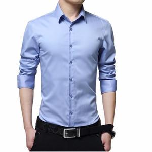 2021 New Silk Shirt Men Satin Smooth Men Solid Tuxedo Business Shirt Casual Slim Fit Shiny Wedding Dress Shirts