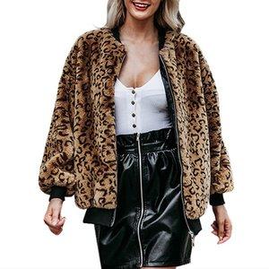 Winter Plus Size Loose Leopard Blouse Women 2020 Vintage Long Sleeve Office Animal Print Blouse Coats Ladies Clothing 19Oct26
