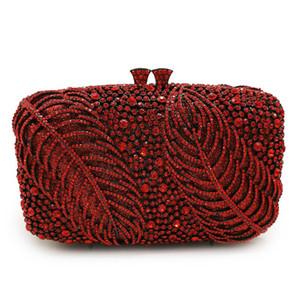 Best Designer Red Crystal Strass Donne Borse Pochette Diamante foglie Diamante Shoulder Borsa a spalla Mini signore frizioni di nozze