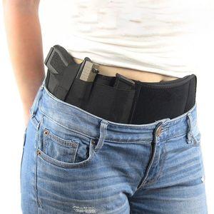 Tattica esterna finale della pancia Banda Holster celato universale Carry pistola della pistola del sacchetto di vita elastica regolabile Belt Bag Cintura