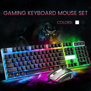 Clavier de jeu avec rétroéclairage RGB LED Keyboard et souris Gaming câblé pour ordinateur portable PC Pink Noir Blanc