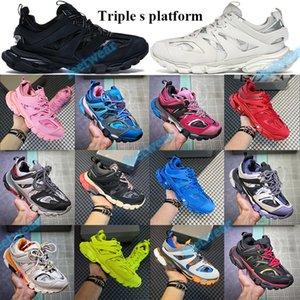 2021 Тройной трек Повседневная обувь Мужчины Женщины Париж Высота платформы увеличение Тренажёры зеленый белый синий розовый белый черный оранжевый кроссовки Tag
