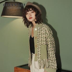 CHEERART Yeşil Ekose Tweed ceket Sonbahar Püskül Kırpılmış Fringe Coats Ve Ceketler Kadın Patchwork Moda Tasarımcısı Giyim 201013